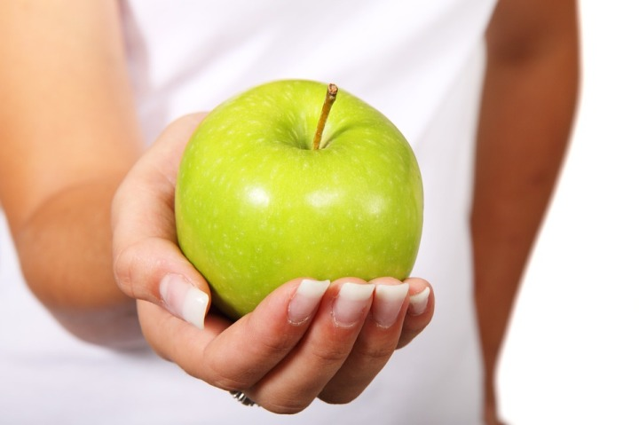 Apple Fruit Hand Diet Healthy Green Food Finger